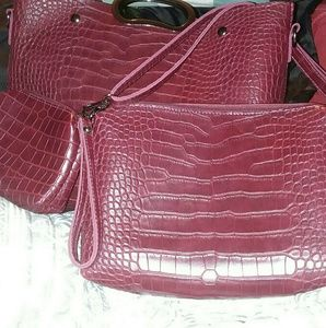 3 PURSE set in wine red